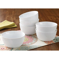 Walmart: Better Homes and Gardens Round Ribbed Bowls, White, Set of 6