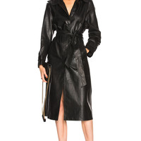 Palmer Girls x Miss Sixty Leather Trench Coat in Black | FWRD