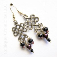 Celtic Heart Knotwork Earrings Handmade Fashion Chandelier Glass Beads
