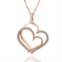 Gorgeous 18K Gold Plating necklaces twin heart collares mujer bone HBN221