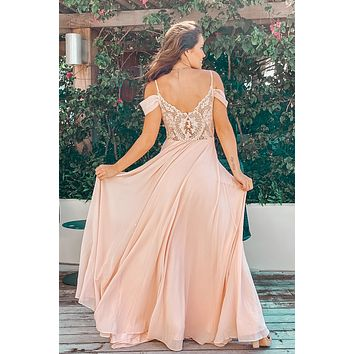 Blush Off Shoulder Maxi Dress with Lace Back