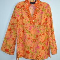 Liza Byrd Tunic Sz Large Colorful V-Neck Cotton Embroidered