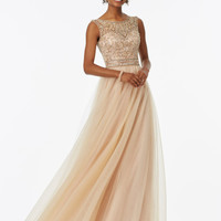 Robe De Soiree Stunning Long Prom Dresses 2017 Scoop Neck Floor Length Crystal Beading Tulle Prom Gowns