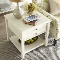 Anywhere Large Antique White End Table with Pull Handles