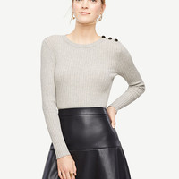 Shoulder Button Ribbed Sweater | Ann Taylor