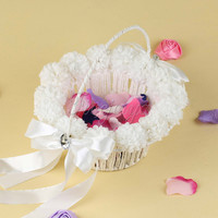 White Wedding Flower Girl Basket with Pearls Ribbons Bow Rhinestone Flowers Wedding Party Favor Decorations Storage Candy Basket