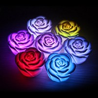 BEST 1 Piece Hot Selling LED Romantic Rose Flower Color Changed Lamp LED Night Lights wedding Decoration
