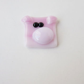 Pig, Piglet Made of Fused Glass, Pig Keychain, Pig Bookmark, Pig Magnet, Pig Tie Tack Pin, Gift for Animal Lover, Stocking Stuffer