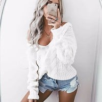 Winter Knitted Sweater Women 2017 Autumn White Pullover Sweater Sexy Deep v Neck Long Sleeve Jumpers Pull Femme  sweter mujer