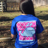 SALE Southern Chics Sassy Classy Collection Preppy Whale Distressed Bright T Shirt