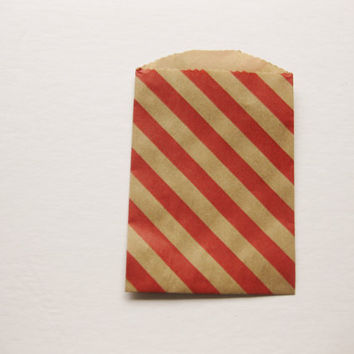 """Set of 20 NEW Kraft with Red Diagonal Design Bitty Bags (2.75"""" x 4"""")"""