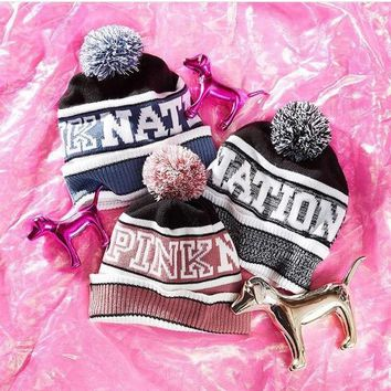 Victoria's Secret PINK Knit Hat Bling Beanie - Grey