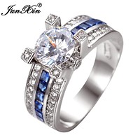 JUNXIN Unique Jewelry Blue Round Zircon Stone Ring White Gold Filled Wedding Engagement Rings For Women Men