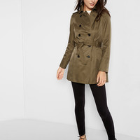 olive trapunto stitch sash trench coat