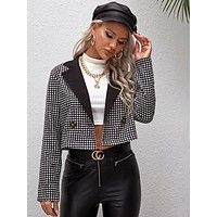 Houndstooth Print Lapel Collar Double Button Tweed Blazer