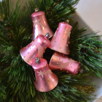 Vintage Set Of 5 Hand Blown Hand Decorated Bell Christmas Ornaments In Pink With White Flocking