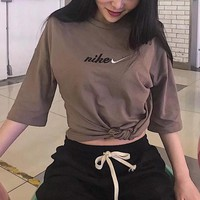 """""""Nike"""" Unisex Retro Loose Casual Letter Embroidery Couple Short Sleeve T-shirt Top Tee"""