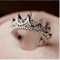 Korea Temperament Elegant Queen Silver Crown Clear Crystals Lady Rings = 1958371012