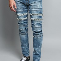 Distressed Zipper Denim Jeans