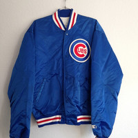 CYBER SALE Vintage Starter Jacket Chicago Cubs Mens XL Amazing Condition