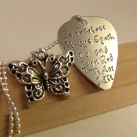 Taylor Swift-Your Favorite Lyrics Guitar Pick Necklace w/butterfly charm-flower girl-wedding