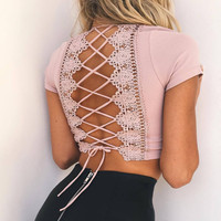 Sexy Deep V-Neck Crisscross Strappy Lace Short Sleeve Cami Crop Shirt Top Tee