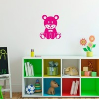 Wall Vinyl Sticker Decal Art Design Bear Toy with Nestling Baby Nursery Room Nice Picture Decor Hall Wall Chu228
