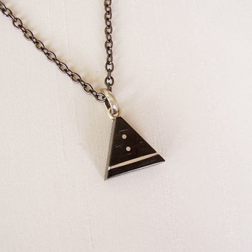 Triangle wood Pendant in Ebony & Sterling Silver, black plated chain - Women or Men Necklace - Black and silver