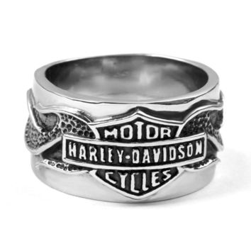 Polished Stainless Steel Vintage Biker Ring