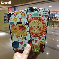 Kerzzil for iphone7 Cute Cartoon Elephant Sunflower Phone Cases For iphone 7 6 6s Plus Relief painting Soft TPU Silicone Cover