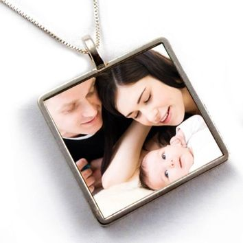 Custom Photo Necklace - Large Square, Reversible, Waterproof - Sterling Silver