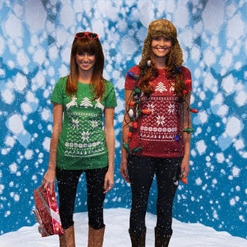 Ugly Christmas Sweater t shirt -- Deer in snow women's-- S M L XL XXL ( 3 colors )