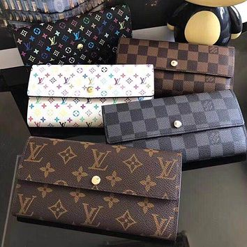 LV Tide brand classic old flower checkerboard women's fashion canvas long wallet
