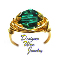 DWJ0595 Gorgeous Genuine Swarovski Caribbean Green Faceted Crystal Gold Wire Wra