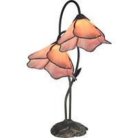 "21""H Poelking Pink Lily 2-Light Table Lamp Dark Antique Bronze"
