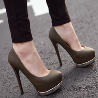 Fashion Round Closed Toe Stiletto High Heel Dark Grey Pumps