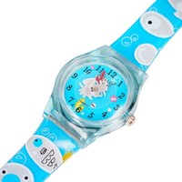 Magicpieces Boy's Girl's Kid's Sea-fish Octopus Printed Surface Round Shape Quartz Blue Watch Kids with Magnifying Lens Upper Watch School Children Watch Plastic Upper New Style Water-proof Watch