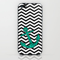 Mint Leopard Anchor iPhone & iPod Skin by M Studio | Society6