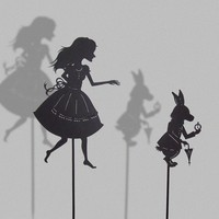 Alice and the white Rabbit / Laser cut Shadow Puppets