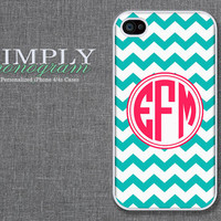 iphone 4 case - plastic or silicone rubber - light blue and pink monogram