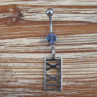 Belly Button Ring - Body Jewelry -Silver Roman Numerals with Purple Gem Stone Belly Button Ring