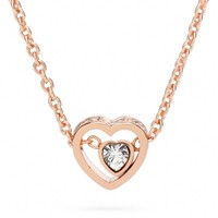 Coach :: New Pave Stone Heart Necklace