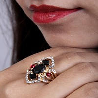 Charming and Elegant Multicolor Ruby and Zircon Ring