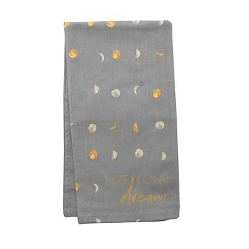 Celestial Moon Tea Towel in Grey and Yellow | Witchy Absorbent Novelty Dish Cloth