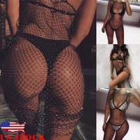 US Women Sexy Summer Sleeveless Bikini Cover Up Dress Fishnet Swimsuit Beachwear