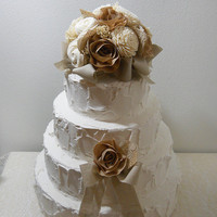 Rustic Shabby Chic Cake Topper, sola flowers, cotton fabric, burlap, lace, natural brown tones, country wedding. Made to Order.