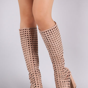 Suede Perforated Peep Toe Chunky Heeled Boots