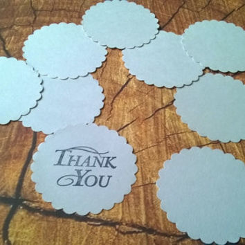 large grey gray scallop circle Gift Tags with without string hanging round thank you set of 10  blank note memo greeting card cupcake topper