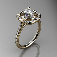 French 14K Yellow 1.0 Ct Russian Ice CZ Diamond Engagement Ring R1028-14KYGDRICZ