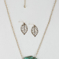 Marbled Stone and Leaf Necklace